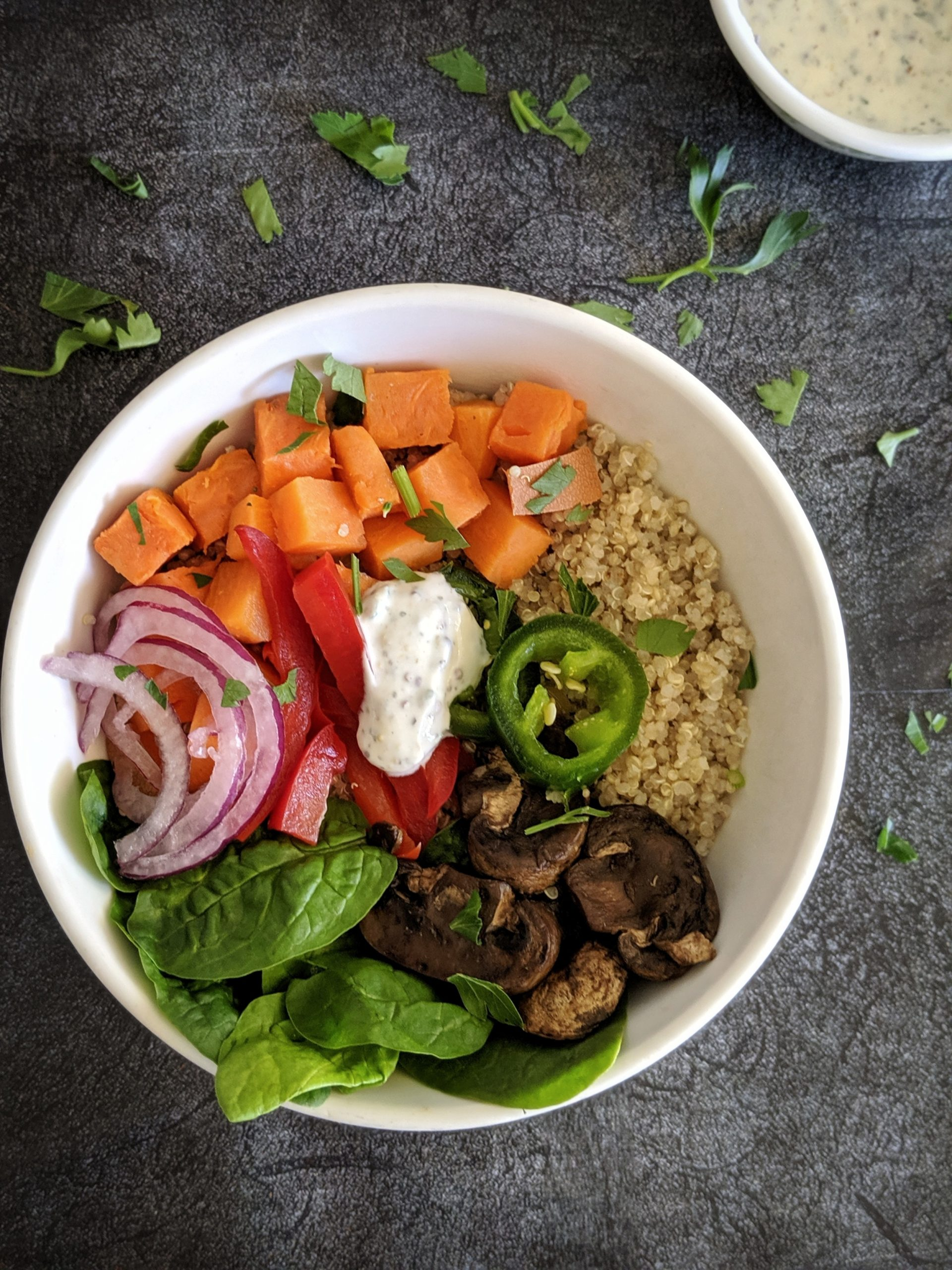 Sweet Potato Quinoa Salad Bowl With Mushrooms Hayl S Kitchen